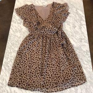 Leopard Print faux wrap dress - size small